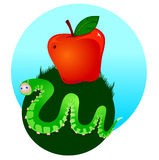 Caterpillar and apple Royalty Free Stock Photos