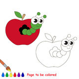 Caterpillar in apple cartoon. Page to be colored. Royalty Free Stock Images