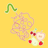 Caterpillar and apple pear strawberry cherry on yellow background labyrinth game for Preschool Children. Vector Royalty Free Stock Photography