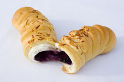 Caterpillar bread with blueberry filling royalty free stock photo