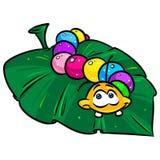 Caterpillar bright color leaf tree cartoon illustration Stock Images