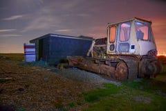 Caterpillar bulldozer at night Stock Image