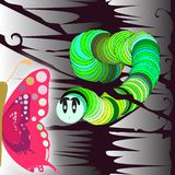 The caterpillar and the butterfly. concept illustration. Colorful concept illustration. the caterpillar sees the butterfly and remains enchanted royalty free illustration