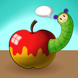 Caterpillar cartoons and apple Stock Photos