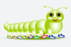 Caterpillar - a centipede in miscellaneous footwear royalty free stock images