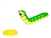 Caterpillar and coin. Three-dimensional cartoon the image of a caterpillar and a coin Stock Image
