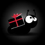 Caterpillar con la caja de regalo grande del portador de los ojos Vector ilustración del vector
