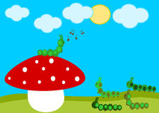 Caterpillar concert on the red mushroom cartoon illustration Royalty Free Stock Photo