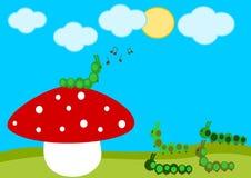 Caterpillar concert on the red mushroom cartoon illustration Royalty Free Stock Photo