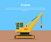 Caterpillar Crane Banner Flat Design Vector Photographie stock libre de droits