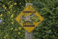 Caterpillar crossing sign Stock Photos