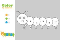 Caterpillar dans le style de bande dessin?e, couleur par le nombre, jeu de papier d'?ducation pour le d?veloppement des enfants,  illustration stock