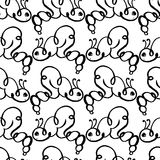 Caterpillar doodle seamless pattern background Royalty Free Stock Photography