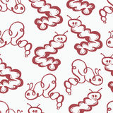 Caterpillar doodle seamless pattern background Stock Images