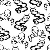 Caterpillar doodle seamless pattern background Royalty Free Stock Image