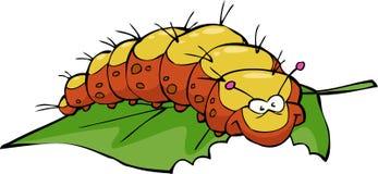Caterpillar. The caterpillar eats leaf on white background vector stock illustration