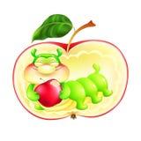 Caterpillar em uma maçã vermelha com uma maçã Foto de Stock Royalty Free