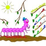 Caterpillar em uma sapataria pegara as sapatas novas para si mesma Fotografia de Stock Royalty Free