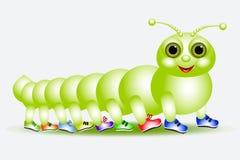 Caterpillar - en mångfoting i diverse skodon royaltyfria bilder