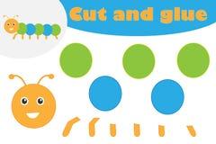 Caterpillar en style de bande dessin?e, jeu d'?ducation pour le d?veloppement des enfants pr?scolaires, ciseaux d'utilisation et  illustration de vecteur