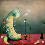 Caterpillar. Fantasy illustration fairy tale story Wonderland with  caterpillar and  hookah. Computer graphics Royalty Free Stock Image