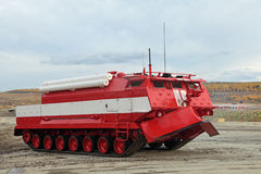 Caterpillar fire truck. NIZHNY TAGIL, RUSSIA - SEP 26, 2013: The international exhibition of armament, military equipment and ammunition RUSSIA ARMS EXPO (RAE Stock Photos