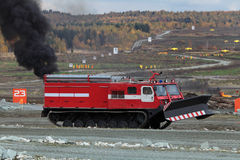 Caterpillar fire vehicle. NIZHNY TAGIL, RUSSIA - SEP 26, 2013: The international exhibition of armament, military equipment and ammunition RUSSIA ARMS EXPO (RAE Stock Images
