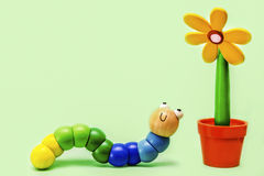 Caterpillar and Flower Royalty Free Stock Image