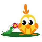 Caterpillar Gives a Flower to Bird Stock Image