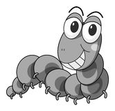 Caterpillar. Happy caterpillar crawling in black and white Royalty Free Stock Photography