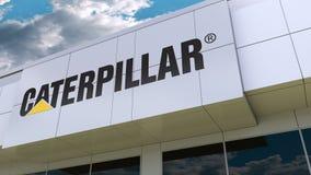 Caterpillar Inc. logo on the modern building facade. Editorial 3D rendering. Caterpillar Inc. logo on the modern building facade. Editorial 3D stock footage