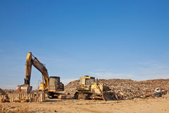 Caterpillar  in a landfill Stock Photo