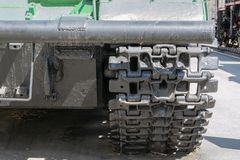 Caterpillar of military tank or excavator. Close-up photo stock photos