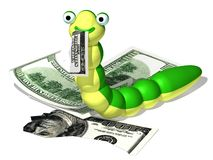 Caterpillar and money. Three-dimensional cartoon the image of a caterpillar and a money Royalty Free Illustration