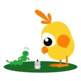 Caterpillar, Mouse and Bird. Funny cartoon caterpillar and yellow bird look at a small mouse Royalty Free Stock Photo