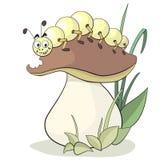 Caterpillar and mushroom Royalty Free Stock Photos