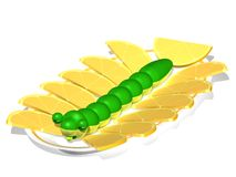 Caterpillar on a plate with lemons. Three-dimensional cartoon the image of a caterpillar on a plate with lemons Stock Illustration