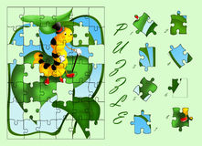 Caterpillar puzzle. Color illustration of a puzzle for children Stock Image