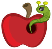 Caterpillar on red apple Stock Photo