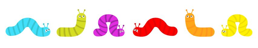 Free Caterpillar Set. Insect Icon Line. Cute Crawling Bug. Cartoon Funny Kawaii Baby Animal Character. Smiling Face. Colorful Bright Stock Images - 182711674