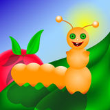 Caterpillar smiling on the leaf. Insect glad to be on cherry leaf Stock Photography