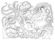 Caterpillar smokes a hookah on a mushroom. Fairytale Wonderland scenery. Royalty Free Stock Photo