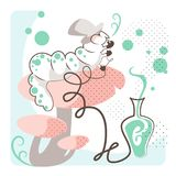 The Caterpillar smoking a green hookah. The caterpillar, Alice in Wonderland character, smoking a narghilè on a red mushroom. Vector pastel illustration ideal Stock Image