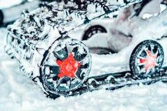 Caterpillar of snowmobile in winter Finland Rovaniemi, Lapland stock photography