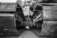 Caterpillar tracks of a mining machine Royalty Free Stock Photography