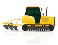 Caterpillar tractor with plow vector illustration Royalty Free Stock Image