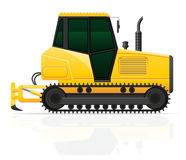 Caterpillar tractor with plow vector illustration Royalty Free Stock Photo