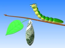 Caterpillar on twig. The three-dimensional cartoon image of a caterpillar sitting on twig with a cocoon Stock Illustration