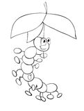 Caterpillar and umbrella Royalty Free Stock Images