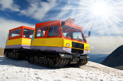 Caterpillar vehicle. On glacier 3000 in Swiss alps Stock Photography
